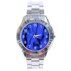 Blue Velvet Ribbon Background Stainless Steel Analogue Watch by Nexatart