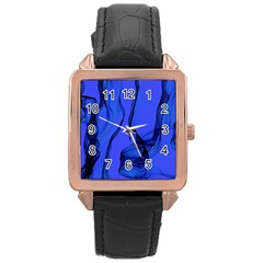 Blue Velvet Ribbon Background Rose Gold Leather Watch  by Nexatart