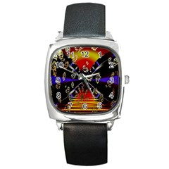 Diamond Manufacture Square Metal Watch by Nexatart