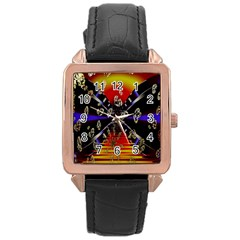 Diamond Manufacture Rose Gold Leather Watch  by Nexatart