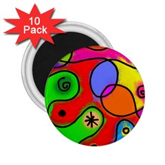 Digitally Painted Patchwork Shapes With Bold Colours 2 25  Magnets (10 Pack)  by Nexatart