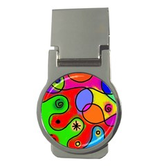 Digitally Painted Patchwork Shapes With Bold Colours Money Clips (round)  by Nexatart