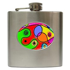 Digitally Painted Patchwork Shapes With Bold Colours Hip Flask (6 Oz) by Nexatart