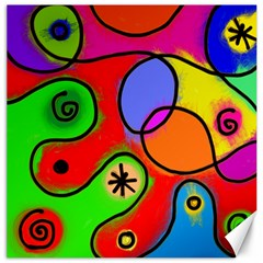 Digitally Painted Patchwork Shapes With Bold Colours Canvas 20  X 20   by Nexatart