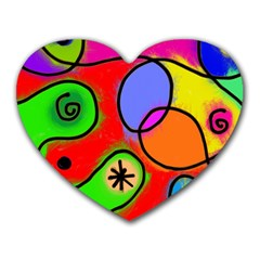 Digitally Painted Patchwork Shapes With Bold Colours Heart Mousepads by Nexatart