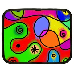Digitally Painted Patchwork Shapes With Bold Colours Netbook Case (large) by Nexatart