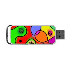 Digitally Painted Patchwork Shapes With Bold Colours Portable Usb Flash (one Side) by Nexatart