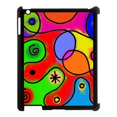 Digitally Painted Patchwork Shapes With Bold Colours Apple Ipad 3/4 Case (black) by Nexatart