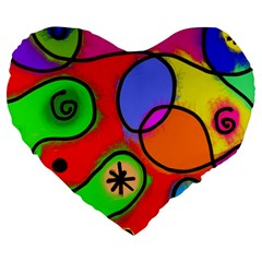 Digitally Painted Patchwork Shapes With Bold Colours Large 19  Premium Heart Shape Cushions by Nexatart