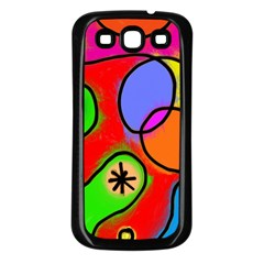 Digitally Painted Patchwork Shapes With Bold Colours Samsung Galaxy S3 Back Case (black)