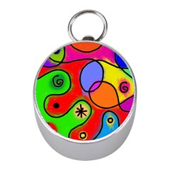 Digitally Painted Patchwork Shapes With Bold Colours Mini Silver Compasses