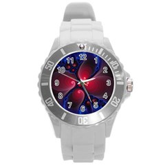 Color Fractal Pattern Round Plastic Sport Watch (l) by Nexatart