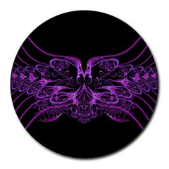 Beautiful Pink Lovely Image In Pink On Black Round Mousepads by Nexatart