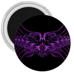 Beautiful Pink Lovely Image In Pink On Black 3  Magnets by Nexatart