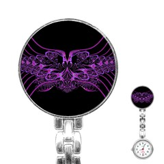 Beautiful Pink Lovely Image In Pink On Black Stainless Steel Nurses Watch by Nexatart