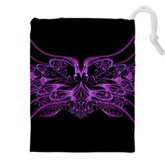 Beautiful Pink Lovely Image In Pink On Black Drawstring Pouches (xxl) by Nexatart