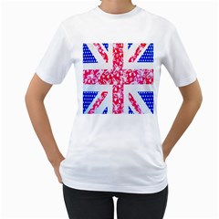 British Flag Abstract British Union Jack Flag In Abstract Design With Flowers Women s T Shirt (white) (two Sided) by Nexatart