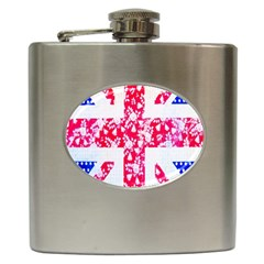 British Flag Abstract British Union Jack Flag In Abstract Design With Flowers Hip Flask (6 Oz) by Nexatart
