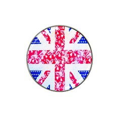 British Flag Abstract British Union Jack Flag In Abstract Design With Flowers Hat Clip Ball Marker (4 Pack)
