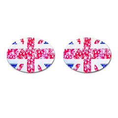 British Flag Abstract British Union Jack Flag In Abstract Design With Flowers Cufflinks (oval) by Nexatart