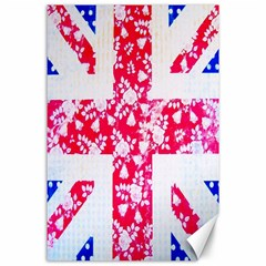 British Flag Abstract British Union Jack Flag In Abstract Design With Flowers Canvas 24  X 36  by Nexatart