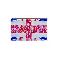 British Flag Abstract British Union Jack Flag In Abstract Design With Flowers Cosmetic Bag (small)  by Nexatart
