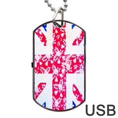 British Flag Abstract British Union Jack Flag In Abstract Design With Flowers Dog Tag Usb Flash (two Sides) by Nexatart