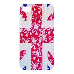 British Flag Abstract British Union Jack Flag In Abstract Design With Flowers Apple Iphone 4/4s Hardshell Case by Nexatart