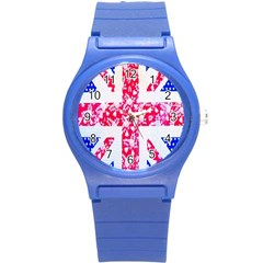 British Flag Abstract British Union Jack Flag In Abstract Design With Flowers Round Plastic Sport Watch (s) by Nexatart