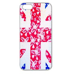 British Flag Abstract British Union Jack Flag In Abstract Design With Flowers Apple Seamless Iphone 5 Case (clear)