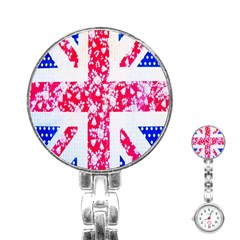 British Flag Abstract British Union Jack Flag In Abstract Design With Flowers Stainless Steel Nurses Watch by Nexatart