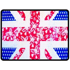 British Flag Abstract British Union Jack Flag In Abstract Design With Flowers Double Sided Fleece Blanket (large)