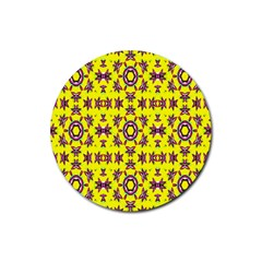 Yellow Seamless Wallpaper Digital Computer Graphic Rubber Coaster (round)  by Nexatart