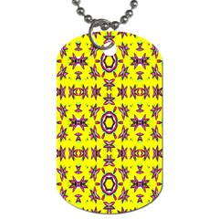 Yellow Seamless Wallpaper Digital Computer Graphic Dog Tag (two Sides) by Nexatart