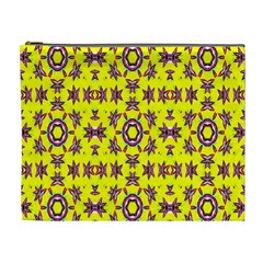 Yellow Seamless Wallpaper Digital Computer Graphic Cosmetic Bag (xl) by Nexatart