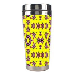 Yellow Seamless Wallpaper Digital Computer Graphic Stainless Steel Travel Tumblers by Nexatart