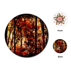 Forest Trees Abstract Playing Cards (round)  by Nexatart