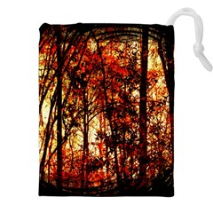 Forest Trees Abstract Drawstring Pouches (xxl) by Nexatart