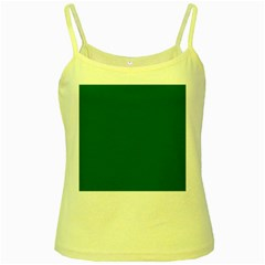 Dark Plain Green Yellow Spaghetti Tank by Jojostore