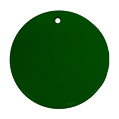 Dark Plain Green Round Ornament (two Sides) by Jojostore