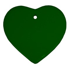Dark Plain Green Heart Ornament (two Sides) by Jojostore
