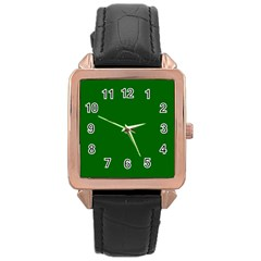 Dark Plain Green Rose Gold Leather Watch  by Jojostore
