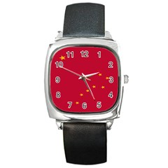 Alaska Star Red Yellow Square Metal Watch by Jojostore