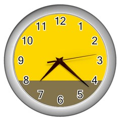 Trolley Yellow Brown Tropical Wall Clocks (silver)