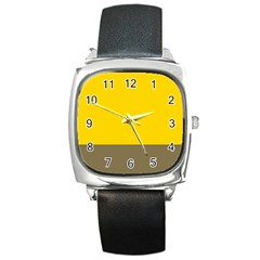 Trolley Yellow Brown Tropical Square Metal Watch by Jojostore