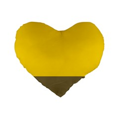 Trolley Yellow Brown Tropical Standard 16  Premium Flano Heart Shape Cushions by Jojostore