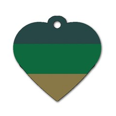 Blue Green Brown Dog Tag Heart (two Sides) by Jojostore