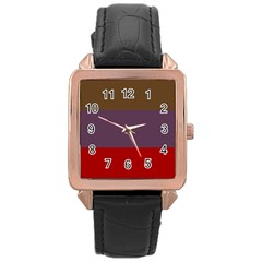 Brown Purple Red Rose Gold Leather Watch  by Jojostore