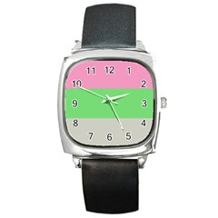 Grey Green Pink Square Metal Watch by Jojostore