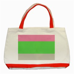 Grey Green Pink Classic Tote Bag (red) by Jojostore